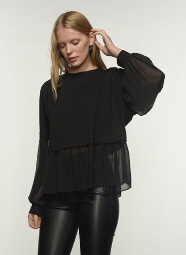 People By Fabrika People By Fabrika Şifon Detaylı Kadın Sweatshirt Siyah